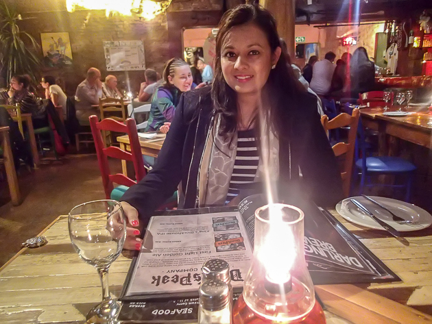 Enjoying dinner at Mama Africa, Long Street