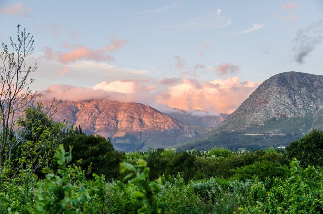 Sunset over the Franschhoek Mountains
