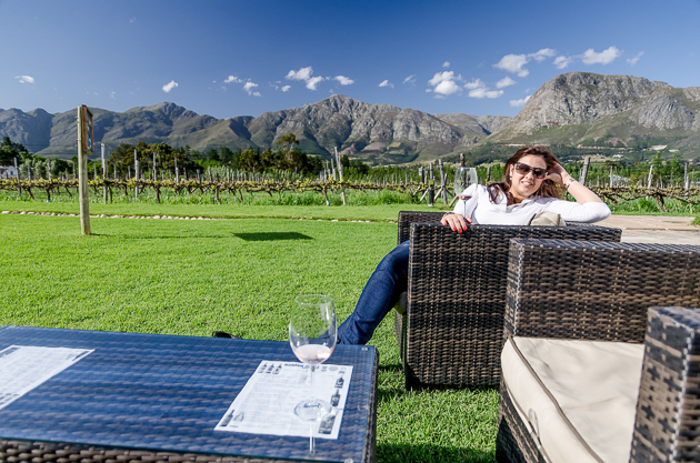 Enjoying the beautiful wine estate