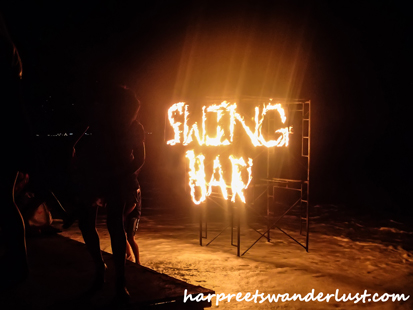 Swing Bar written in fire..Lamai Beach