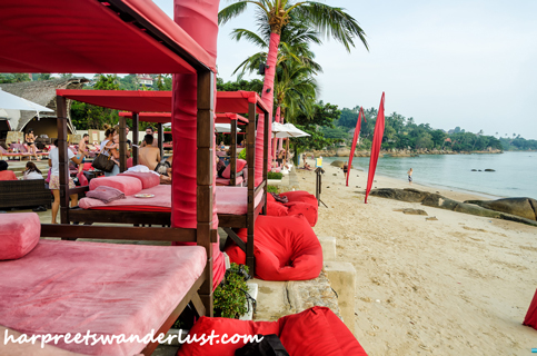 Loungers, sand, sea...at the Beach Republic Koh Samui