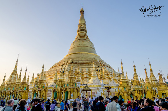 The Shwedagon Pagoda, gently bathed by twilight