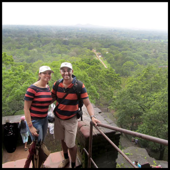 Taking a break from the climb to admire green Sigiriya below…