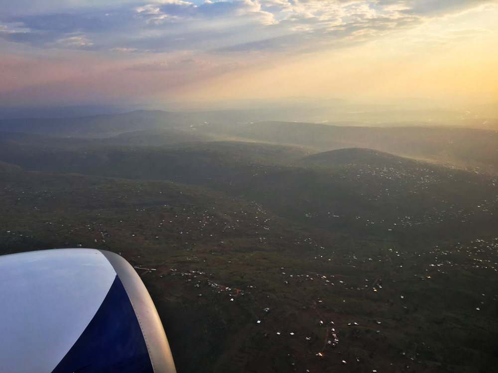 Flying into Kigali with Rwandair