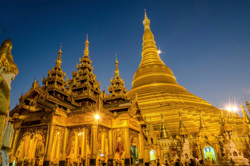 The glittering Shwedagon Pagoda in Yangon