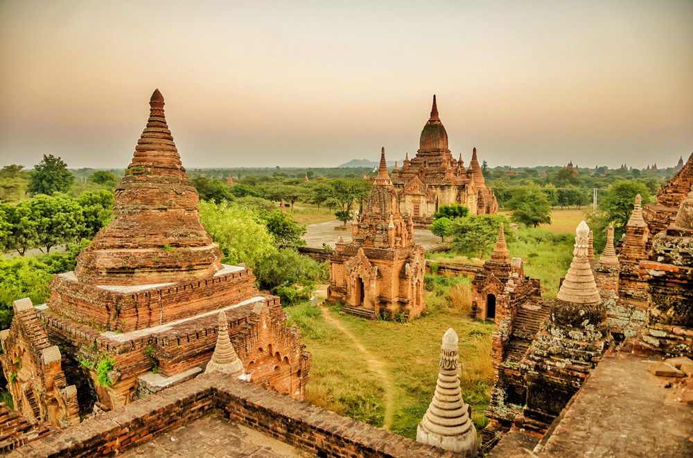The spires of temples in Bagan