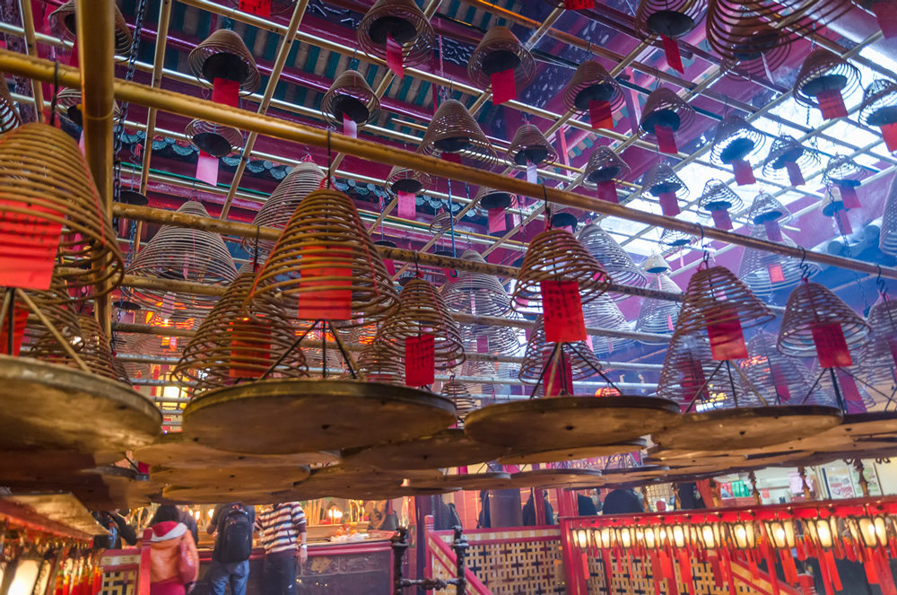 Ceiling of Man Mo adorned with incense lanterns