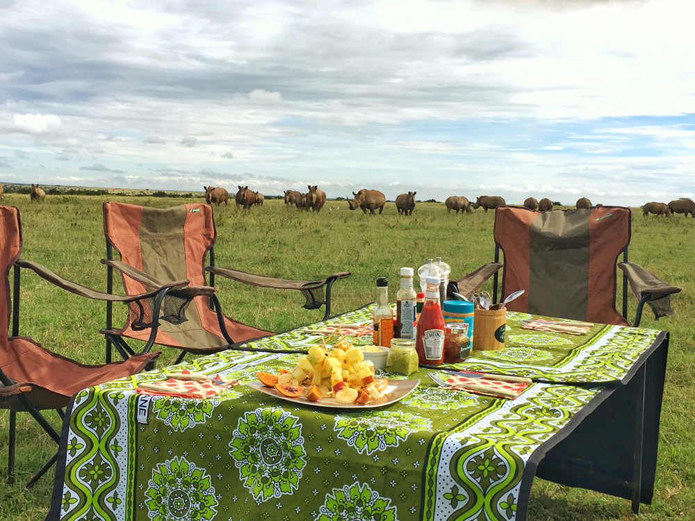 Yes, those are rhino in the background! Bush Breakfast!