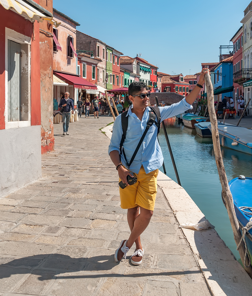 My WanderlustMate along the canal in Burano