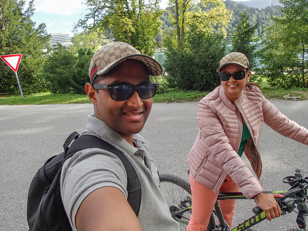 The wanderlusters biking around Bled