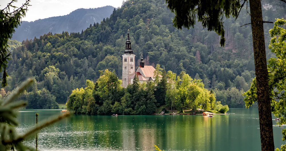 Bled Island as seen from one of the cycling routes