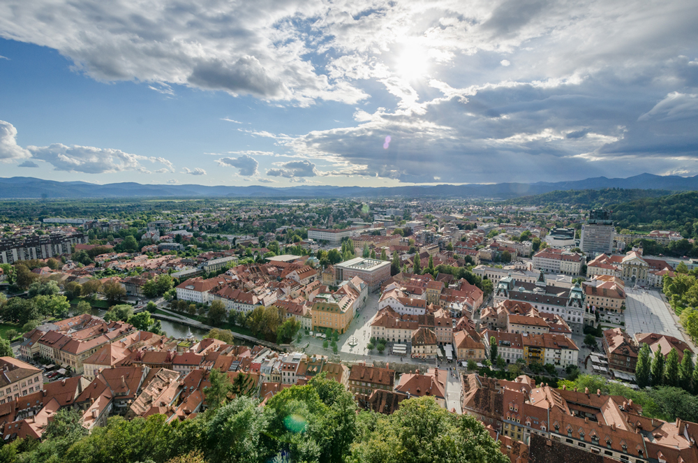 Panoramic view of Ljubljana from the castle