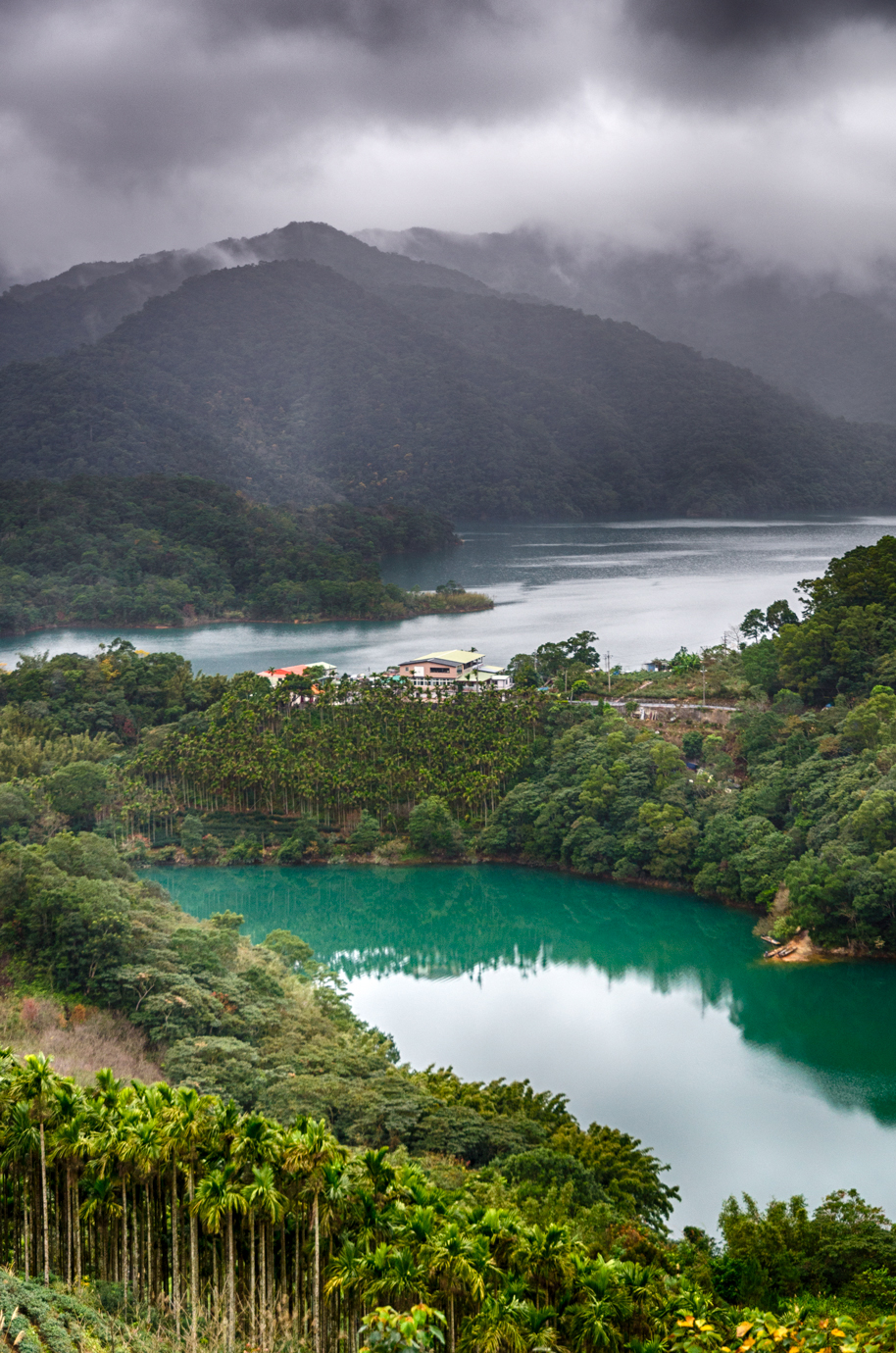 The emerald lakes of Shiding amidst the Tea Plantations