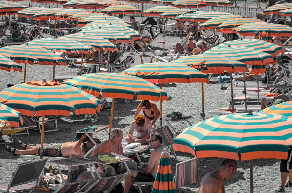 A sea of umbrellas at Monterosso al Mare
