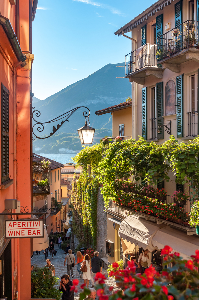 Lake Como peeking out, in this fairy tale like setting in Bellagio