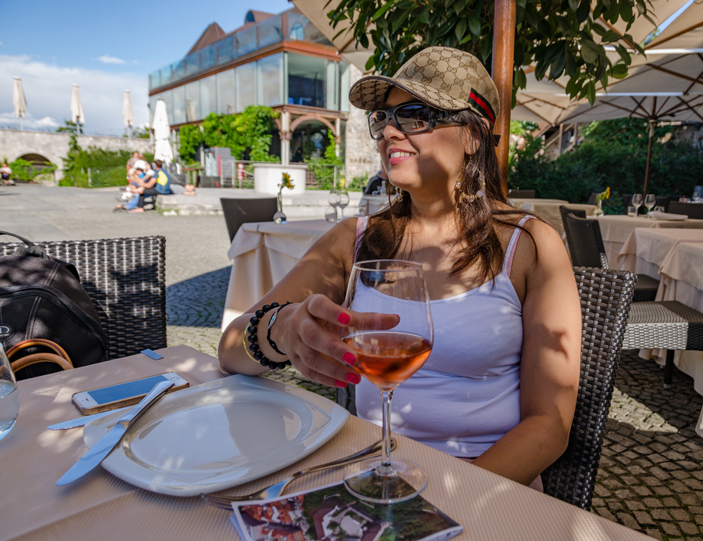 Savouring a glass of Vino in Ljubljana