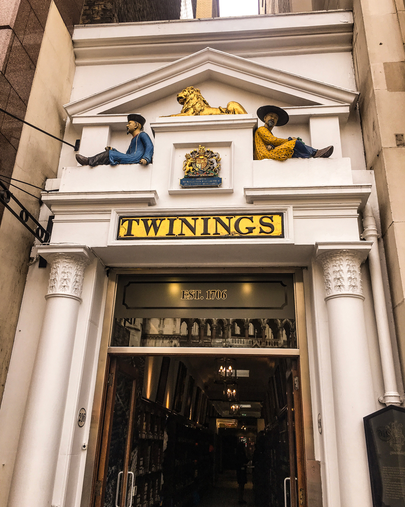 The outer facade of Twinings Tea, the Strand