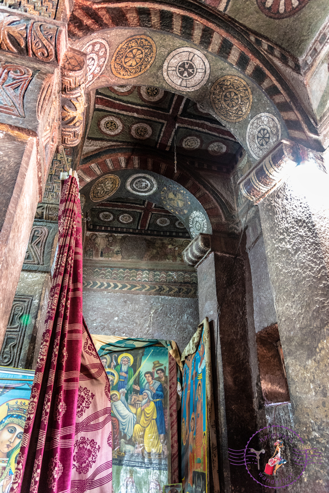 The intricately carved interior of Bet Maryam