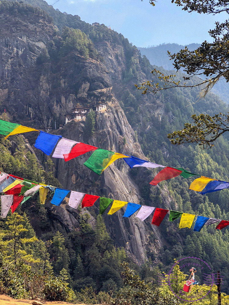 Prayer Flags fly over Taktsang