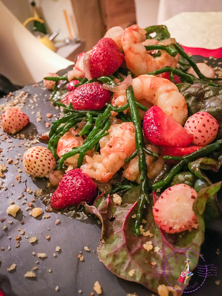 Delectable shrimp and strawberry salad