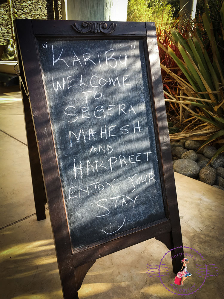 Love the chalkboard welcome message!